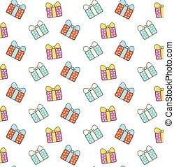 贈り物, パターン, 箱, 背景, 白, 漫画