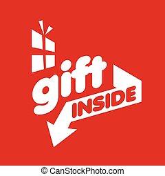 贈り物, ベクトル, 背景, ロゴ, 白い赤