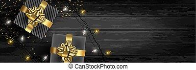 贈り物, ライト, 旗, クリスマス, 背景