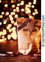 贈り物, ライト, bokeh, クリスマス, 光っていること