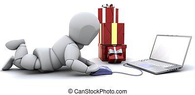 贈り物, ラップトップ, 買い物, 人