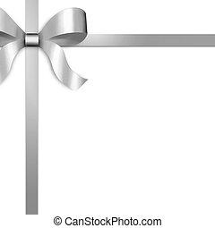 贈り物, リボン, 弓, 銀, サテン