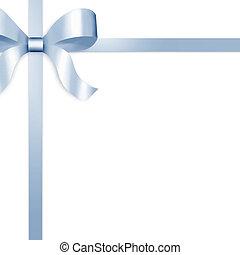 贈り物, リボン, 弓, 青い朱子織