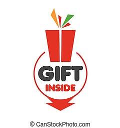 贈り物, ロゴ, 白, ベクトル, 背景