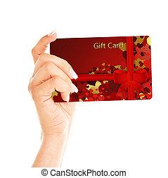 贈り物, 上に, 手, 白, holded, カード