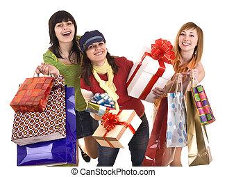 贈り物, 人々, box., 袋, 女の子, グループ, 買い物