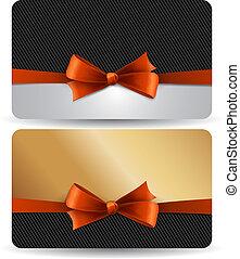 贈り物, 休日, bow., カード, 赤, リボン