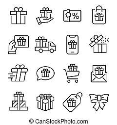 贈り物, 単純である, ストローク, 線である, ベクトル, セット, コレクション, 網, editable, アイコン, アイコン