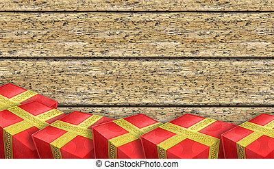 贈り物, 古い, 板, 背景, 赤