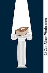 贈り物, 台座, ベクトル, book., heaven., dark., illuminates, 神, ライト, 聖書, イラスト, 厚く