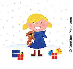 贈り物, 女の子, クリスマス, 幸せ
