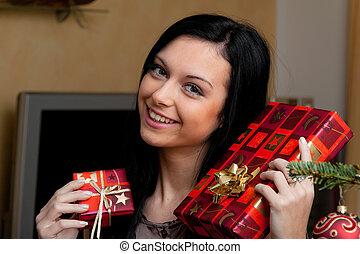 贈り物, 女, 若い, クリスマス