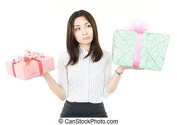 贈り物, 女, 若い