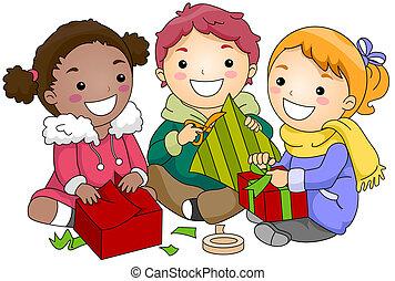 贈り物, 子供, 包むこと