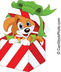 贈り物, 子犬, クリスマス, 箱