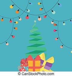 贈り物, 平ら, スタイル, 木, クリスマス