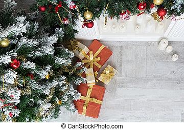 贈り物, 平面図, 木, 下に