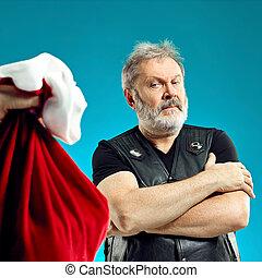 贈り物, 年配, 毛, 白, 人, bag., クリスマス, ひげ