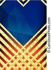 贈り物, 幾何学的, プレゼント, stripes., きらめき, pattern., 招待, 結婚式, ベクトル, バウチァ, 証明書, 金, デザイン, 抽象的, card., 金, 背景, 割引, イラスト