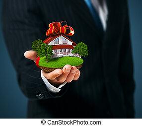 贈り物, 手。, 保有物, 地面, 家, 人
