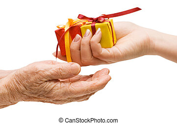 贈り物, 手, 隔離された, 白