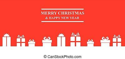 贈り物, 旗, 挨拶, クリスマス