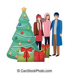 贈り物, 木, グループ, クリスマス, 人々