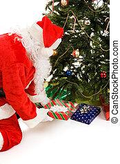 贈り物, 木, santa, 投げ, 下に