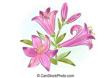 贈り物, 水彩画, カード, ピンク, 美しい, ユリ