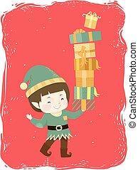 贈り物, 男の子, 妖精, イラスト, 子供