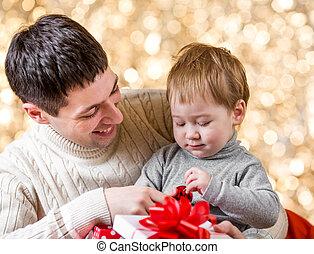 贈り物, 祝祭, 上に, 父, 息子, 背景