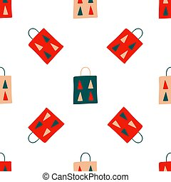 贈り物, 紙袋, バックグラウンド。, スカンジナビア人, 手, スタイル, 装飾, 木, ベクトル, -, seamless, 白, fabric., 休日, クリスマス, 包みなさい, 繰り返すこと, 印刷, イラスト, 要素, drawing., モミ, パターン