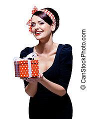贈り物, 素晴らしい, ブルネット, 箱