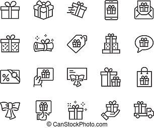 贈り物, 線, アイコン