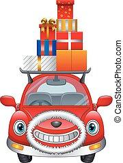 贈り物, 自動車, クリスマス, 箱, 届く, 漫画, ∥そ∥, 棚, 赤