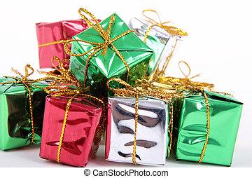 贈り物, 色, 隔離された, 箱, 背景, 飾られる, 白いリボン