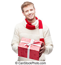 贈り物, 若い, 魅力的, 保有物, 赤, 人