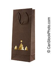 贈り物, 金, 袋, 木, 隔離された, バックグラウンド。, 白い クリスマス, christams