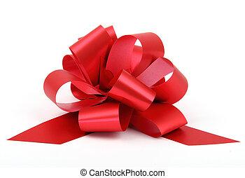 贈り物, 隔離された, 弓, バックグラウンド。, 単一, リボン, 白, プラスチック, 赤