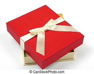 贈り物, 隔離された, 弓, 背景, 白, 開いた, 赤