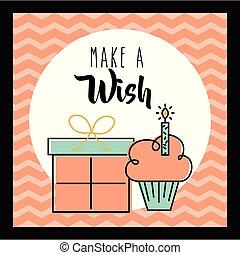 贈り物, 願い, 作りなさい, 挨拶, 招待, ケーキ, カード, 祝福