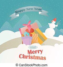 贈り物, 風景, 冬, 背景, クリスマス