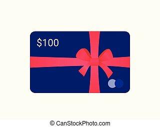 贈り物, bow., リボン, 銀行カード, 赤