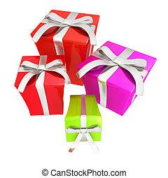 贈り物, boxes., イラスト, 3d
