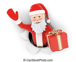 贈り物, claus, 去ること, ペーパー, santa, 穴, 3d