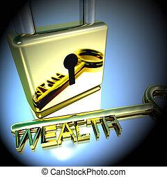 财富, 挂锁, 显示, 财富, 提供, 储蓄, 钥匙, 3d