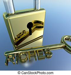 财富, 财富, 显示, 财富, 挂锁, 储蓄, 钥匙