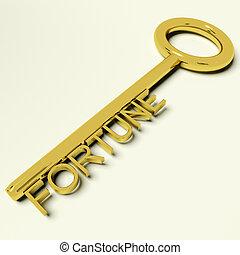财富, 财富, 黄金钥匙, 代表, 运气