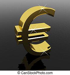 财富, 钱符号, 签署, 或者, 欧元