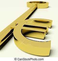 财富, 钱符号, 签署, 钥匙, 或者, 欧元